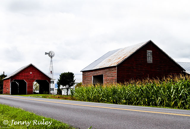 barns along luray triathlon bike course