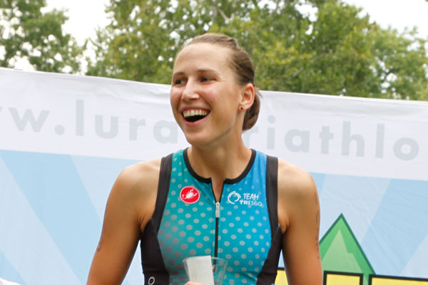 calah slabach on the podium at luray triathlon